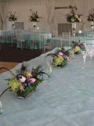 Osman Head Table Peacock Feathers and Succulents