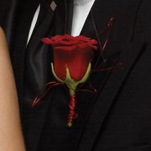 Red Rose Boutonniere with Red Wire