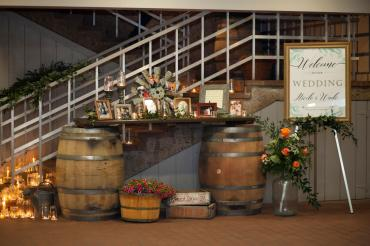 Wedding at Ski Chalet entrance table