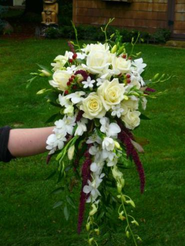 Cascade Bridal Bouquet in White and Burgandy Tones