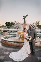 Bride and Groom at Riviera Fountain