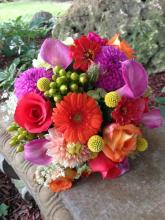 Vibrant summer mix hot pink callas dahlias