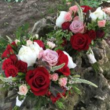 Red, White and Pink Wedding Bouquets