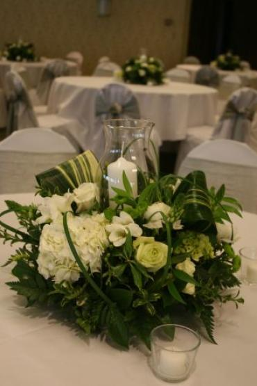 Natural Greens Centerpiece with Hurricane