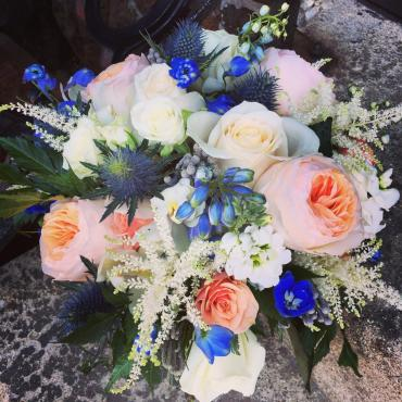 Juliette Garden Roses and Blue Delphinium