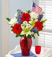 Red, White and Beautiful Bouquet with Flag