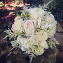 White and Cream Bouquet with Dahlia and English Roses