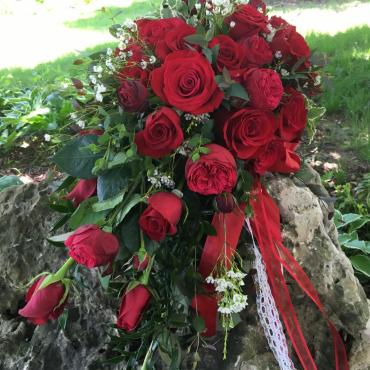 Red Rose and English Rose Cascade Bouquet