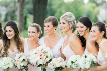 White and Blush Wedding Party