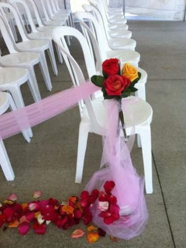 Aisle Decor - Bright color roses