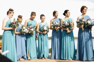 Bridesmaids all in blues