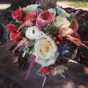 Coral Bouquet with succulent