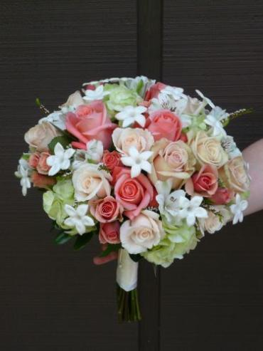 Light Green and Coral Bridal Boquet