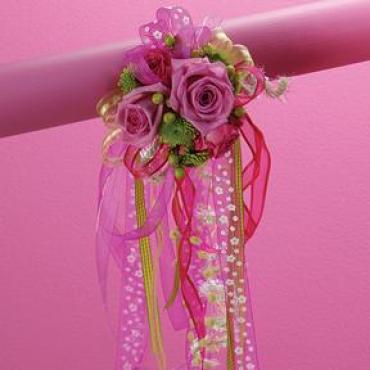 Hot Pink and Green Streamer Corsage