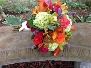 Vibrant summer bouquet orange hot pink green
