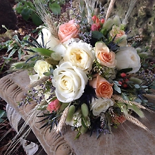 Garden Roses, wheat and thistle