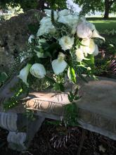 White Cascade Style with Veronica, Mini Callas and Garden Roses