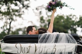 Bride and Groom in the carriage