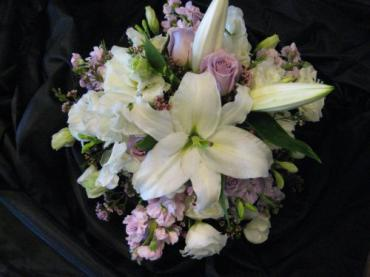 Pale Lavenders and whites bridal bouquet