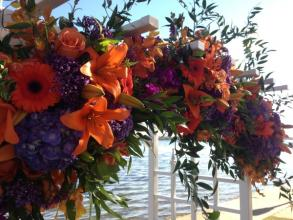 Purple and Orange Floral Topper