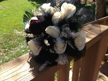 Black and White Bouquet with feathers