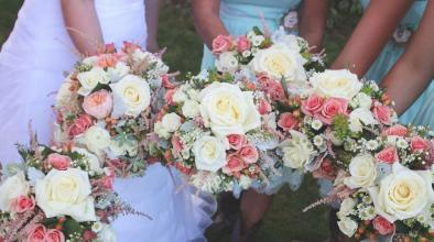 Corals and Cream Wedding Bouquets