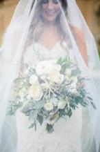 Bride with her veil and Flowers