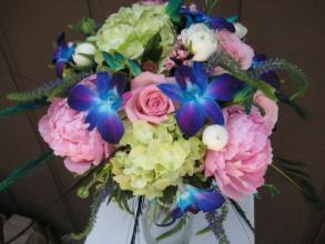 Blue Orchids and Peony\'s  Wedding Bouquet