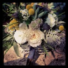 Rustic Garden Style with Craspedia and English Roses