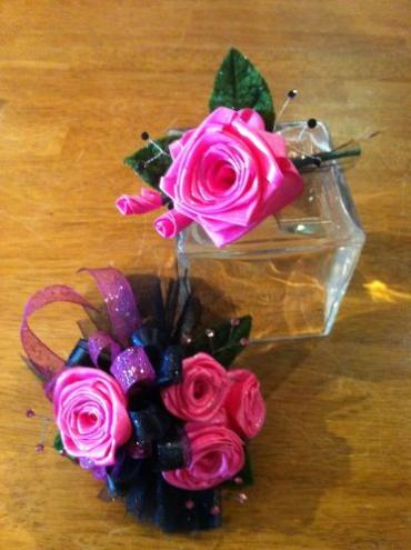 Custom Silk Ribbon Rose Corsage and Matching Boutonniere